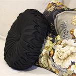 Black Linen Vintage Style  round cushion