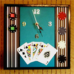 Modern Wall Clock, Unique Wall Art Decor, Mens Poker Set Gift, Nchanted Gifts