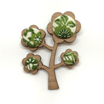 Kimono Tree Brooch - Green Floral Blossom