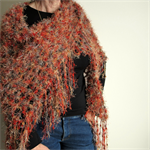 Large Winter Triangle Scarf with Fringe, Hand Crochet, Knit, Autumn Colours