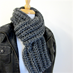 Mens Grey Winter Scarf - hand knit, Crochet - Rib Scarf - Acrylic