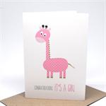 Baby Girl Card - Pink Giraffe - BBYGRL034