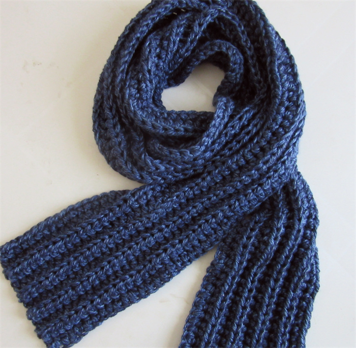 Blue Knit Scarf Crochet Long Winter Scarf Mens Scarves Unisex
