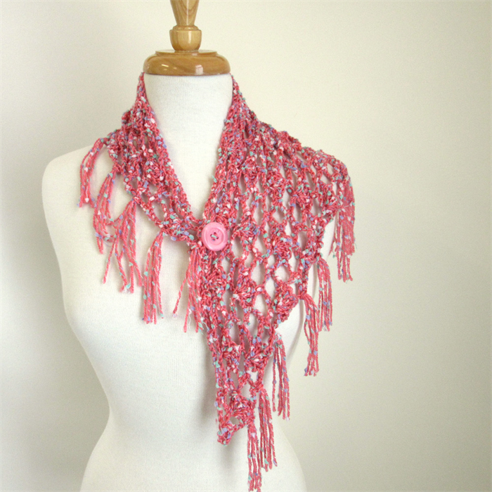 Knitting Pattern For Small Neck Scarf : Pink Shawlette, Small Fringed Scarf, Neck Scarf Sesen ...