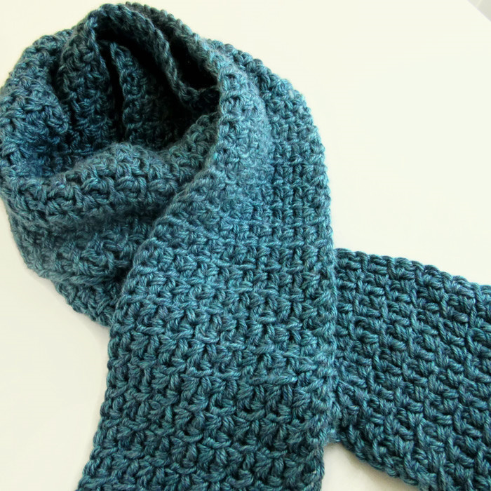 Mens Teal Blue Scarf Hand Knitcrochet Winter Scarves Sesen