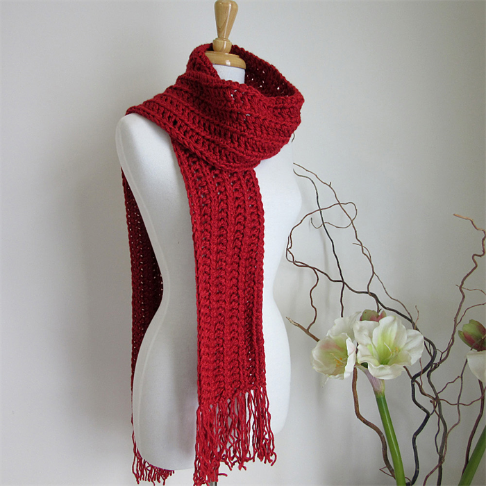 Red Winter Knitted Scarf Hand Crochet Extra Long Scarves Fringed