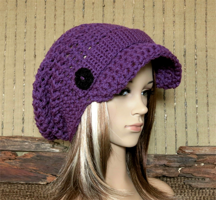 womens crochet hat peak cap slouchy beanie chunky brim