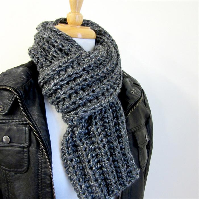 Mens Grey Winter Scarf Hand Knit Crochet Rib Scarf Acrylic