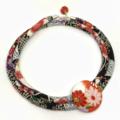 Kimono Cord Necklace Red, Black and Purple Florals