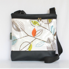 Large 'Georgia' bag, black vinyl feature leaf fabric with a layer of plastic