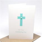 Christening Day Card - Boy - Blue Cross - BBYCHR012 - Christening Card for a Boy