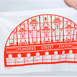 Flinders St  Station Tea Towel - Melbourne, city, souvenir, cotton, homewares,