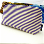 Medium zippered purse or organiser.  Purple stripes with coordinating liner