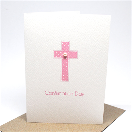 Confirmation Day Card - Pink Polkadot Cross - REL007