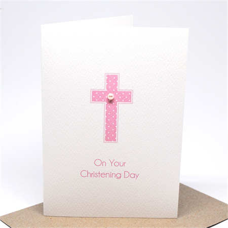 Christening Day Card - Girl - Pink Cross - BBYCHR013