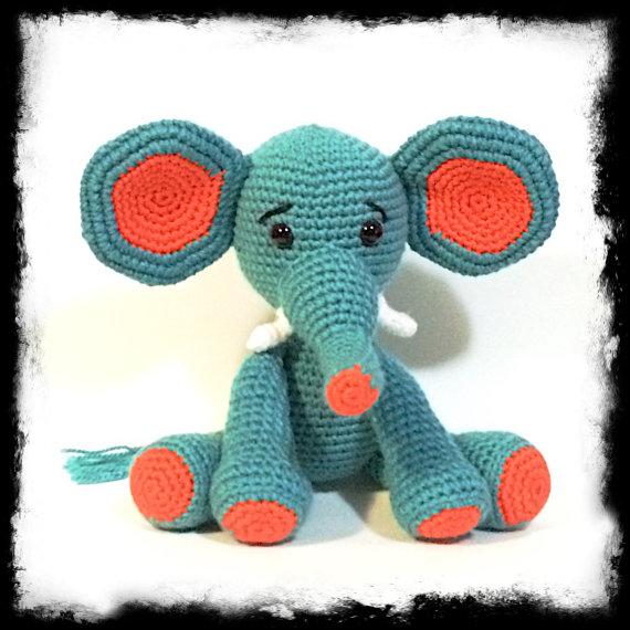 Crochet Amigurumi Elephant Ears : Big Ears Elephant in Amigurumi Crochet style Blue and ...