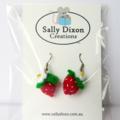 Miniature strawberry felt earrings