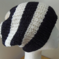Adult Slouchy Beanie Hat, FREE POST ,  Wool - Alpaca,  Black, Cream, Hand Knit