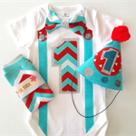 1st Birthday Boy Onesie Party Hat and Leg Warmers Red Blue Chevron