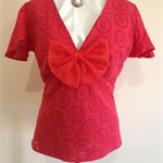 LADIES LOVELY  RED FLUTTER SLEEVE TOP size 16