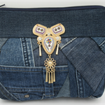 Ladies Clutch - Recycled, Reborn Denim Clutch with Gold Metal Detail