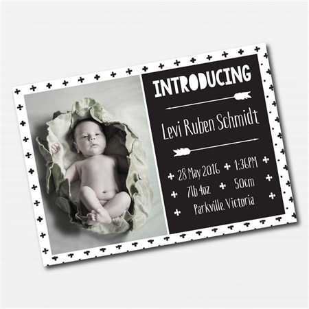 Monochrome Tribal Photo Birth Announcement