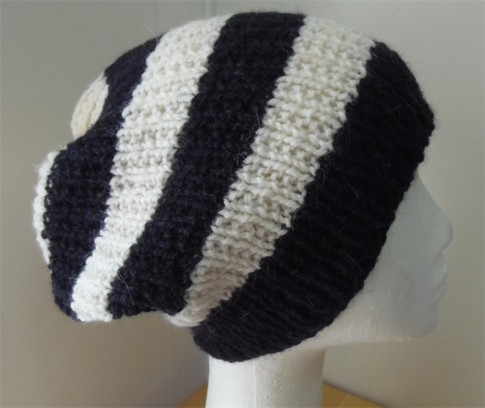 9be374a1c5f4 Adult , Wool - Alpaca, Slouchy Beanie Hat, Black, Cream, Hand Knit | Made  For Little Ones | madeit.com.au