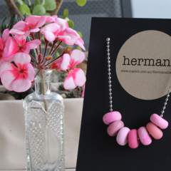 Pretty in Pink clay necklace