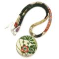Kimono Necklace/Pendant - Green Florals