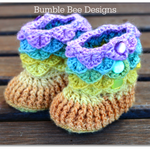 Crocodile Stitch Baby Booties That Stay On - Baby Slippers - Crochet Baby Bootie
