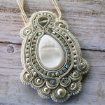 Ivory and Pearl Statement Necklace - Bridal Necklace - Soutache Jewelry - Baroqu