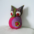 Owl Toy Felted Handmade Pink