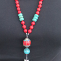 Tassel red blue Tibetan bead and Howlite Turquoise long statement necklace