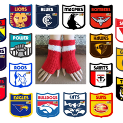 AFL Fingerless Football Gloves Crochet Wool Wrist Warmers, Warm Armwarmers