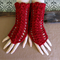 Fingerless Gloves, Burgundy Womens Lace Knitted Gothic Burlesque Winter Glove