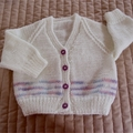 Size 1 Yr old, Cream & blue/mauve/pink, hand knitted, washable, acrylic, girl
