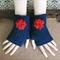 Crochet Fingerless Gloves, Wrist Warmers, Navy Arm Warmers, Crochet Flower, Wool
