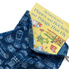 Vintage Cars Drawstring Library Bag or Toy Bag. Car Blueprints in Blue.