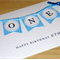 Boys 1st Birthday Card - ONE - blue - personalised!