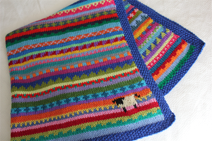 Knitting Patterns For Baby Blankets With Sheep : Blue
