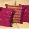 Coordinated set of 5 purple and gold silk cushion covers, pillow covers