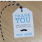 Kids party Thank you gift tags - moustache or blue trains