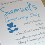 Girls or Boys Christening Baptism Invitations - Set of 12 - butterfly or teddy