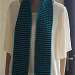 Crochet Long Scarf,  Teal and Black, Green and Black, Rectangle Scarf