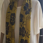 Mustard Yellow and Black Rectangular Scarf with gold embellishment