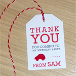 Kids party Thank you gift tags - red car