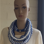 Crochet Hairpin Lace Infinity Scarf,  Royal Blue and White Scarf, Skinny Scarf