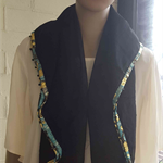Black Square Scarf with Turquoise and Gold Border, Black Scarf