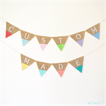 Custom Child's Name Bunting Hessian Burlap Garland Banner Tribal Dipped Chevron
