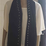 Black Rectangular Scarf with a border of white beads, Black Scarf, Long Scarf
